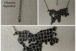 Collana Mappa del Mondo Puzzle in resina