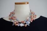 Collana multifilo perle barocche con pietre calcedonio e opale