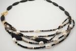 Collana perle di fiume, mezzi cristalli, perle vetro di Boemia, asimmetrica
