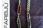 Collana perle viola e catena argento