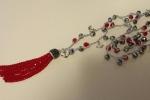 Collana realizzata artigianalmente all'uncinetto con filato Diamant Dmc