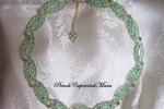 Collana verde al chiacchierino, cristalli verdi, perline