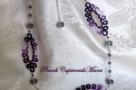 Collana viola al chiacchierino, cristalli e perline viola