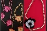 Collana con perle e fiori