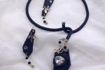 Collier girocollo design con orecchini