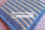 Copertina neonato, in lana merinos bianca e azzurra