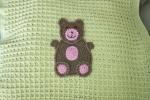 Copertina in morbida lana baby con orsacchiotto