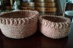 Coppia cestini in cordino con sottilissimo filo laminato