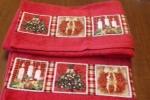 Coppia di asciugamani con bordature americane Natale
