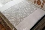 Coprifuochi imbottito colore grigio perla e bianco 56x50cm