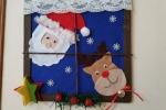 Cornice con babbo natale e la renna Rudolph in pannolenci