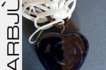 Cuore Blu in pietra dura con cordoncino di cuoio
