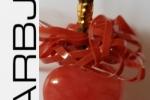 Cuore Rosso in pietra dura con cordoncino di cuoio
