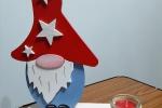 Decorazione natale elfo portacandela in legno