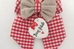 Fiocco natalizio in cotone con cuore in ceramica