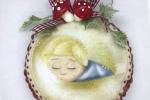 Medaglione da appendere in pannolenci, con disegno stampato bimbo angioletto