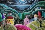 Dipinto su tela paesaggio di notte 70x70cm