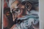 """Dipinto  """"Dio"""", riproduzione Michelangelo Cappella Sistina"""