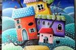 """Dipinto acrilico su tela """"le case sull'albero"""""""