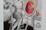 Disegno Donna allo specchio.