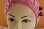 Fascia in lana copri-orecchie per bimba rosa