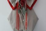 Fiocco natalizio in tessuto beige e rosso