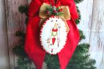 Fiocco Fuoriporta Natalizio ceramica, velluto rosso