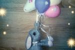 Fiocco nascita bimba elefantino e palloncini pannolenci