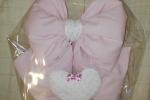 Fiocco nascita rosa per culla in tessuto