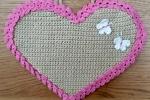 Fiocco nascita in cotone a forma di cuore