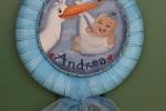 """Fiocco nascita dipinto a mano  personalizzabile """"è nato"""""""