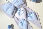 Fiocco nascita Francesco tutto grigio con micropois bianchi