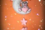 Fiocco in feltro con orsetta sulla luna