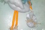 Fiocco nascita in pannolenci a forma di cicogna
