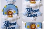 Fiocco nascita personalizzabile Leone sulla nuvola