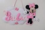 Fiocco nascita personalizzabile nuvola con Minnie