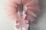 Fiocco nascita in tulle rosa