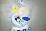Fiocco nascita mezza luna con topolino