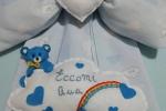 Fiocco nascita artigianale con orsetto