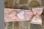 Fiocco nascita realizzato in stoffa toni del rosa e pois