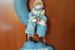 Fiocco nascita azzurro con pupazzo