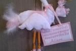 Fiocco nascita realizzato a mano personalizzabile cicogna