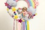 Fiocco nascita arcobaleno/unicorno in tessuto e pannolenci