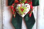Fiocco natalizio in velluto con cuore in ceramica