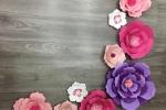 Fiori di carta giganti e piccoli adatti per decorare pareti
