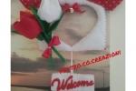 Fuoriporta feltro/pannolenci tulipani con perla in vetro
