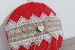 Fuoriporta in feltro natalizio con particolari in legno