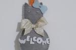 Fuoriporta in feltro gatto con scritta Welcome