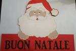Fuoriporta natalizio faccia Babbo Natale e scritta
