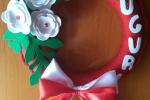 Ghirlanda Natale uncinetto fatto a mano lana decori fommy
